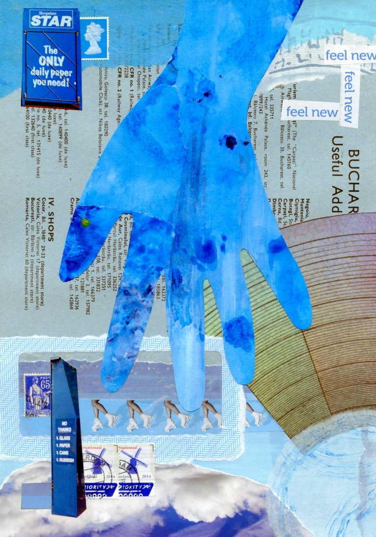 OM.2020.027 - Jennifer Wallace - UK - Blue Hand - collage on paper - 12 x 9 inches - collage exchange BOOK